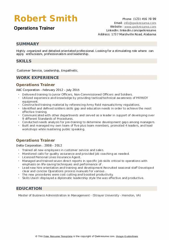 Operations Trainer Resume example