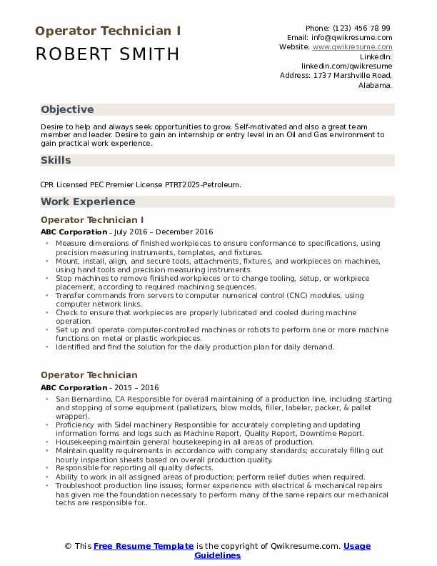 Operator Technician I Resume Format