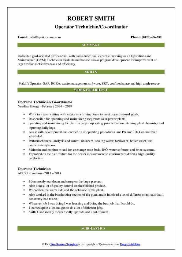 Operator Technician/Co-ordinator Resume Model