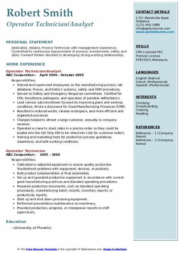 Operator Technician/Analyst Resume Format