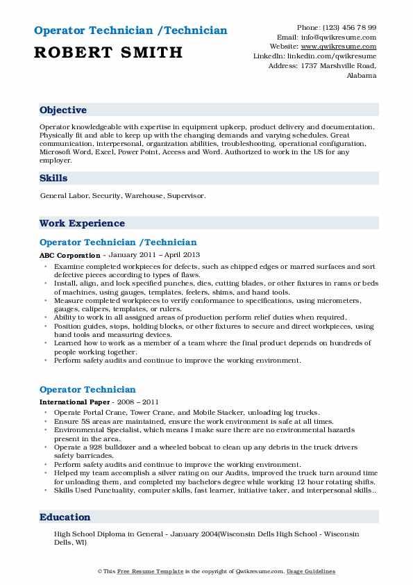 Operator Technician /Technician Resume Template