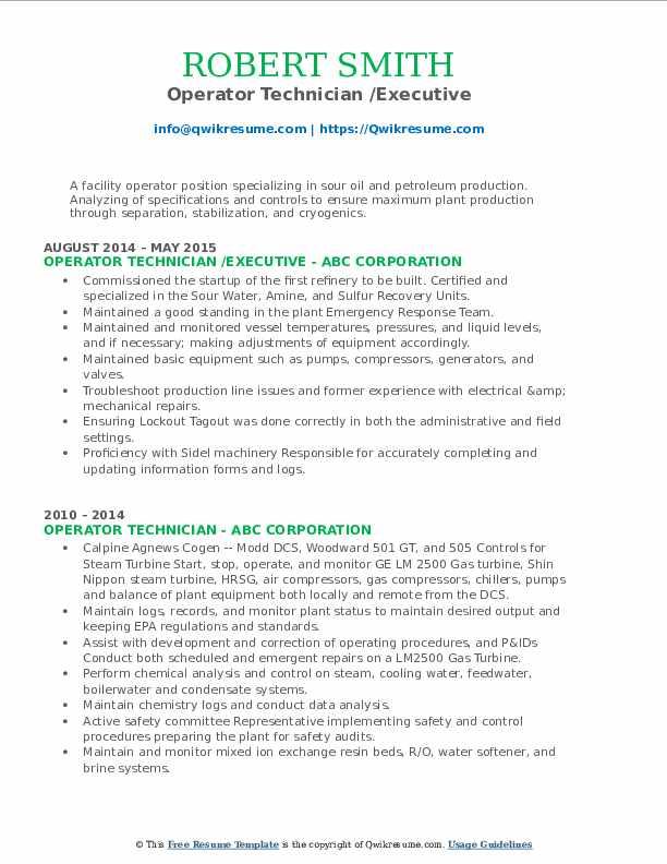 Operator Technician /Executive Resume Sample