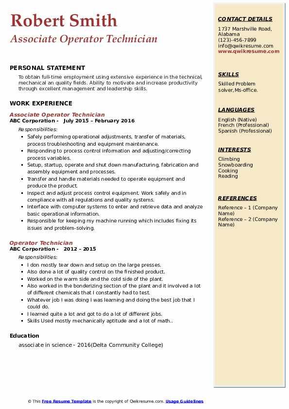 Associate Operator Technician Resume Model