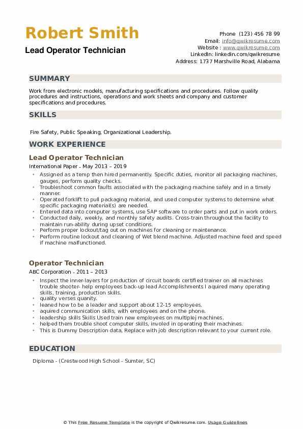 Lead Operator Technician Resume Model