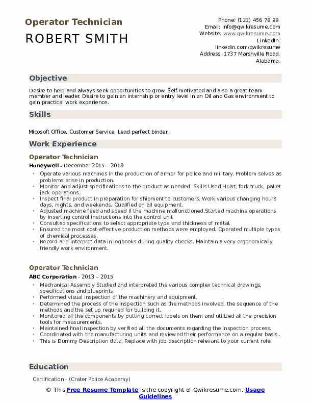 Operator Technician Resume example