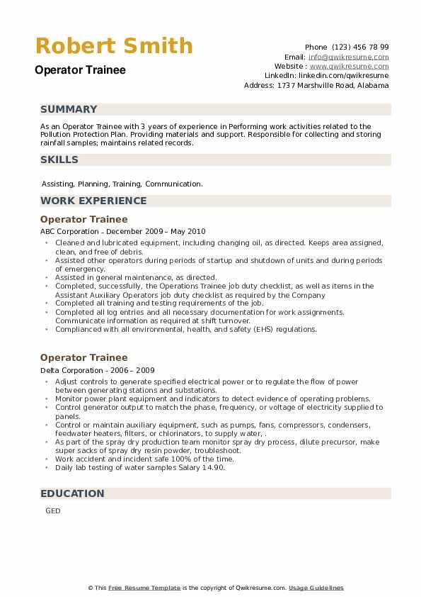 Operator Trainee Resume example