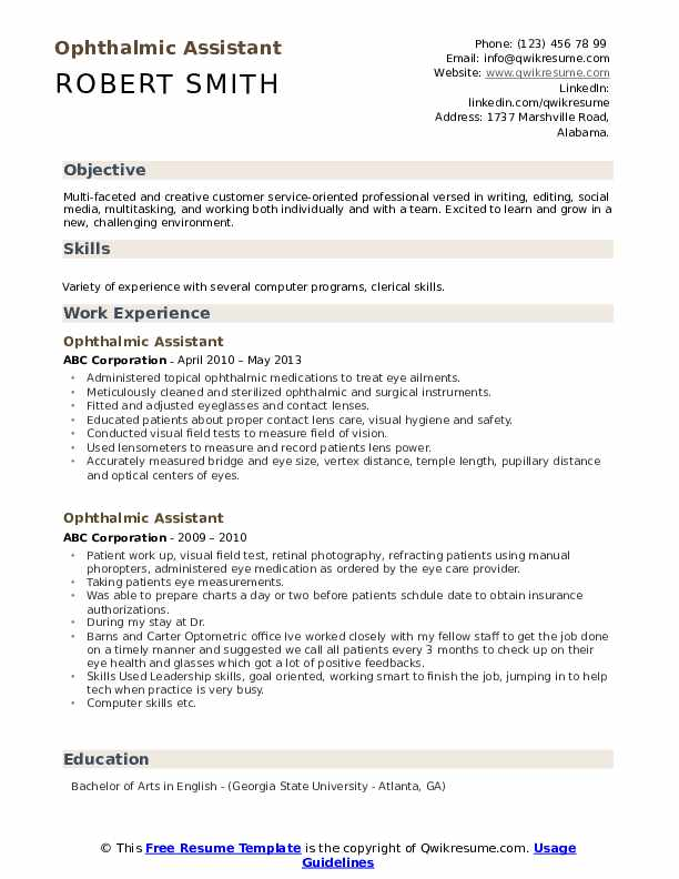 Ophthalmic Assistant Resume Model
