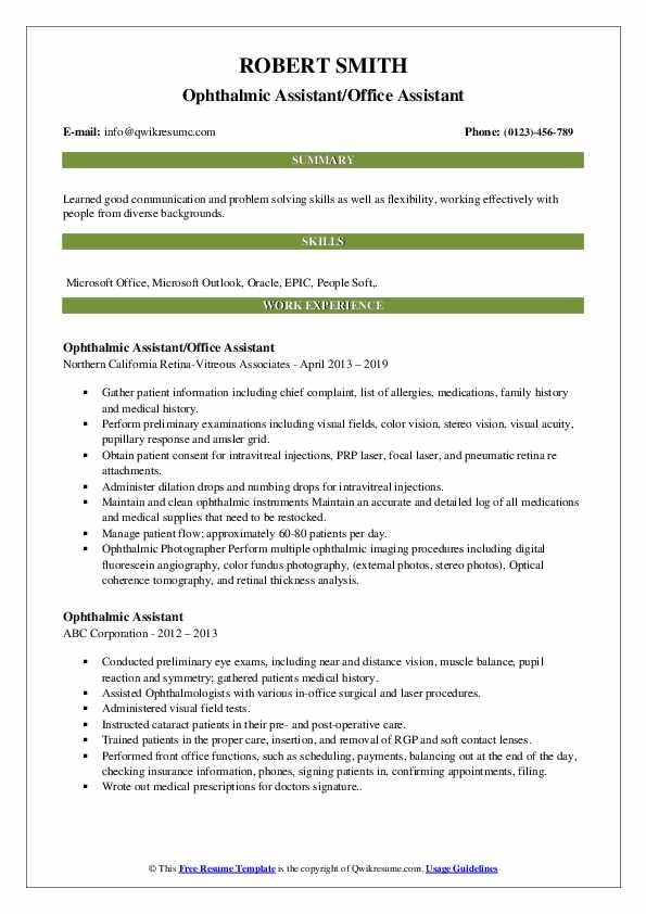 Ophthalmic Assistant/Office Assistant Resume Sample