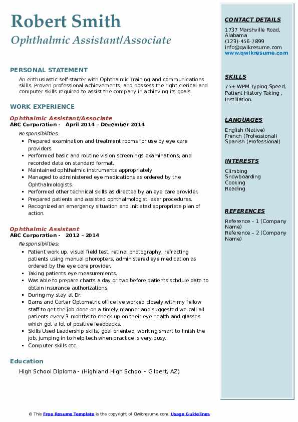 Ophthalmic Assistant/Associate Resume Model