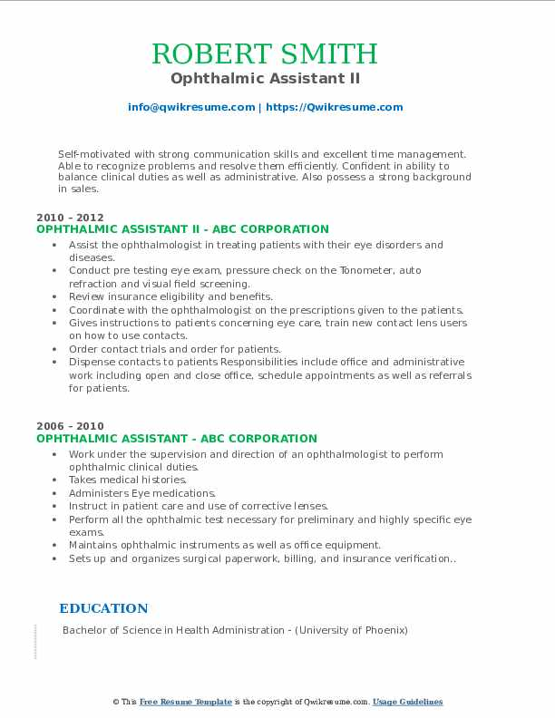 Ophthalmic Assistant II Resume Format