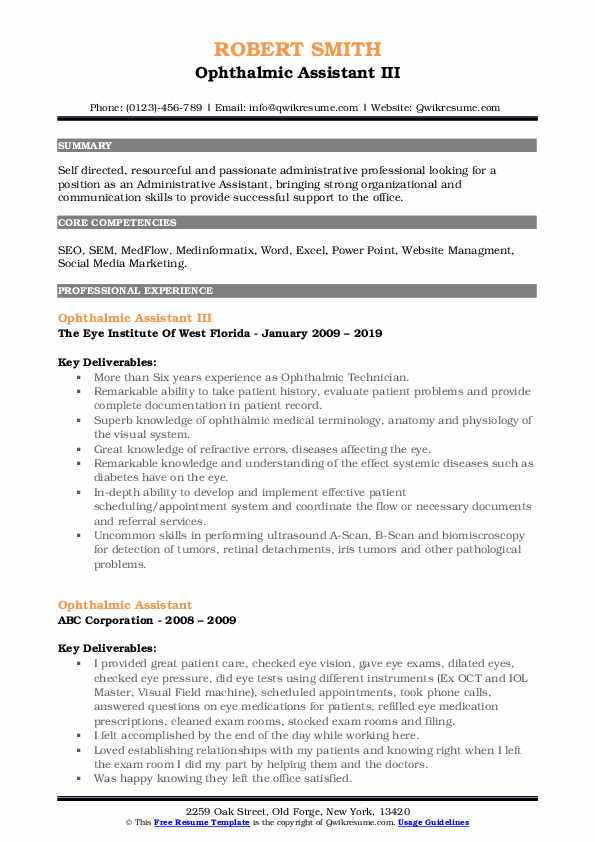 Ophthalmic Assistant III Resume Template