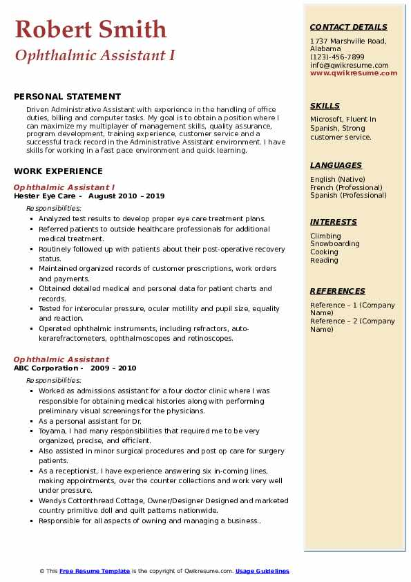 Ophthalmic Assistant I Resume Model