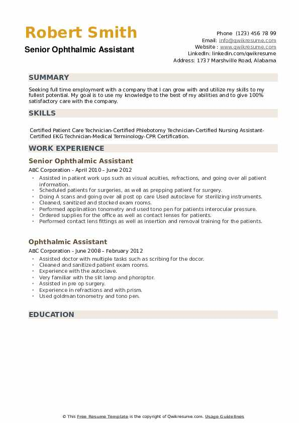 Senior Ophthalmic Assistant Resume Format