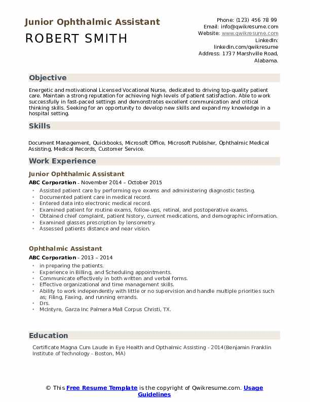 Junior Ophthalmic Assistant Resume Model