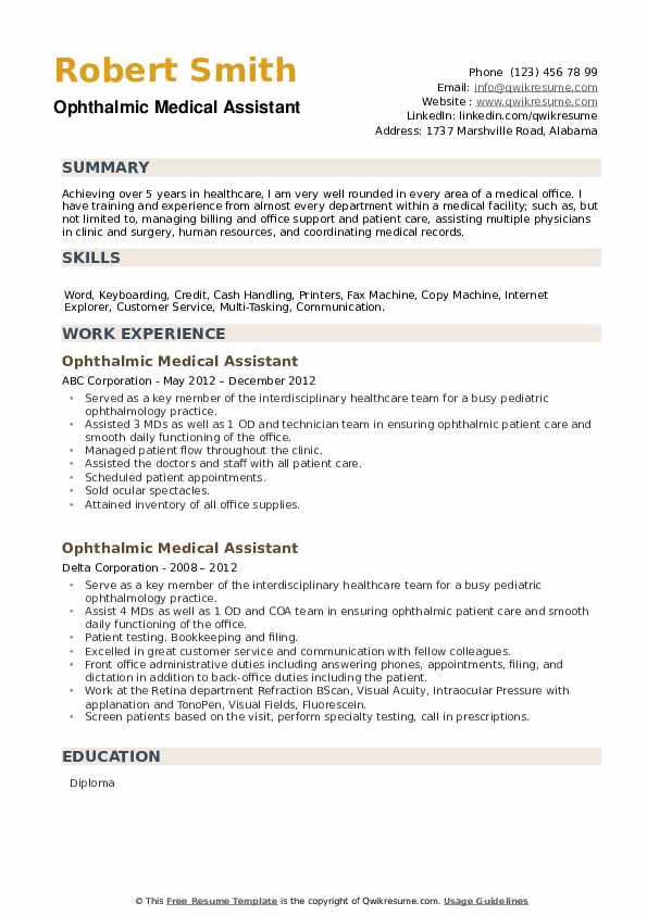 Ophthalmic Medical Assistant Resume example