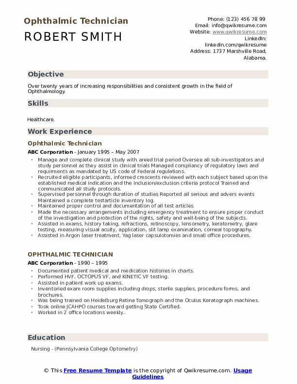 Ophthalmic Technician Resume Format
