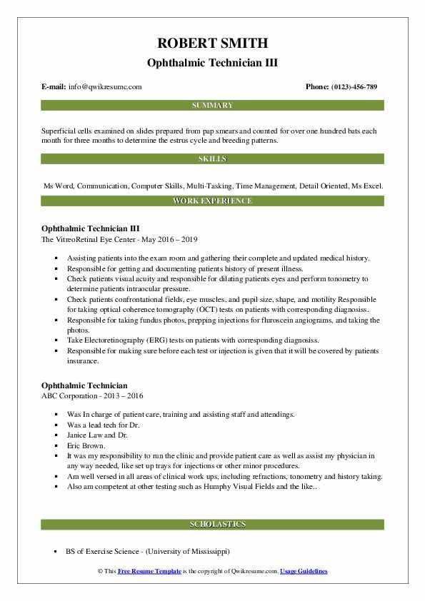 Ophthalmic Technician III Resume Model