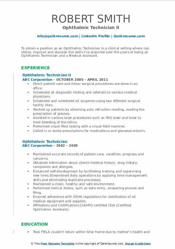 Ophthalmic Technician II Resume Sample