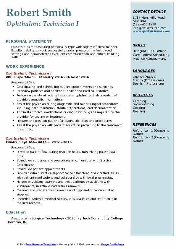 Ophthalmic Technician I Resume Example
