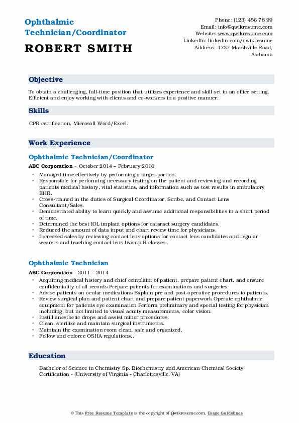 Ophthalmic Technician/Coordinator Resume Format