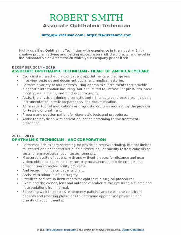 Associate Ophthalmic Technician Resume Template