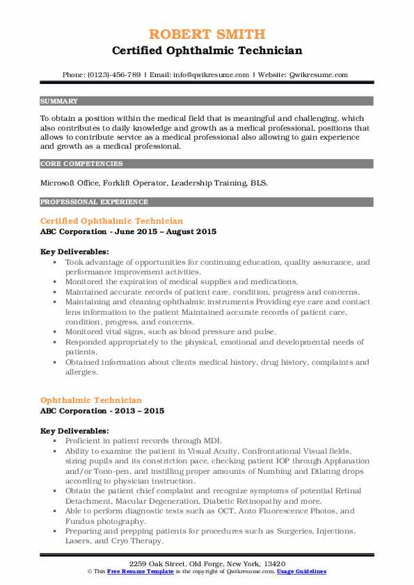 Certified Ophthalmic Technician Resume Sample