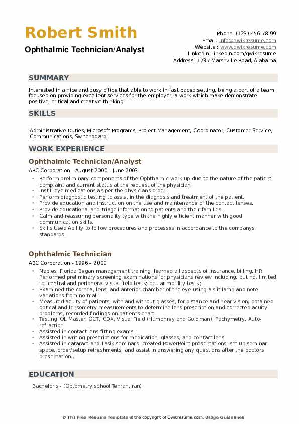 Ophthalmic Technician/Analyst Resume Model