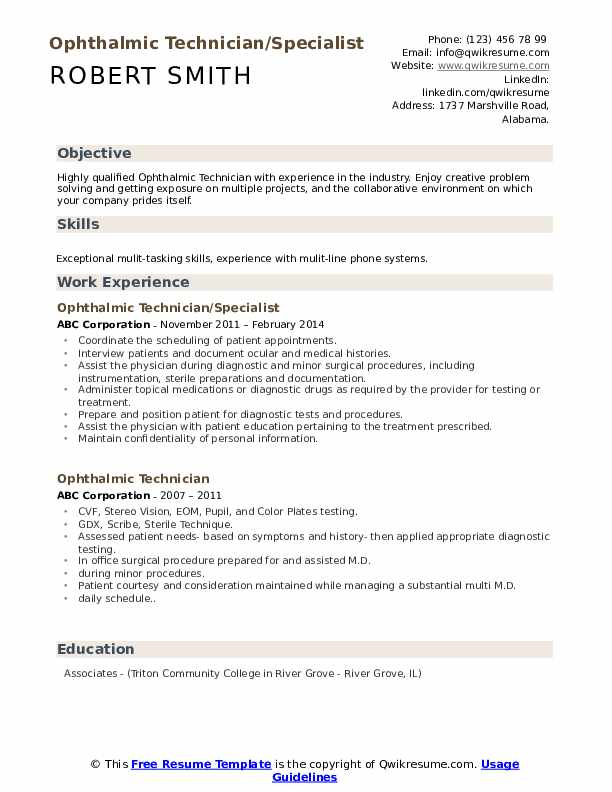 Ophthalmic Technician/Specialist Resume Example