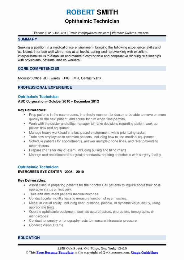 Ophthalmic Technician Resume example