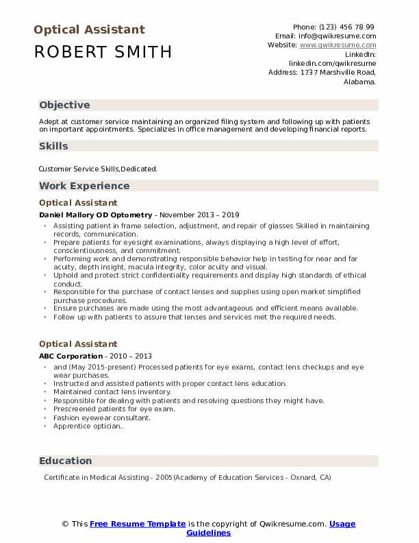 Optical Assistant Resume Sample