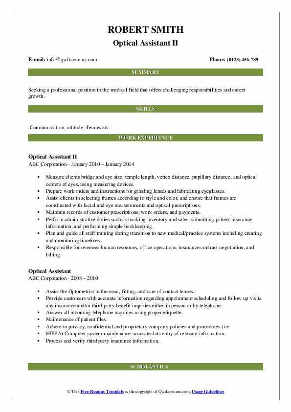 Optical Assistant II Resume Sample