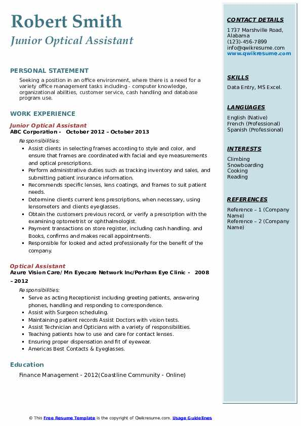 Junior Optical Assistant  Resume Format