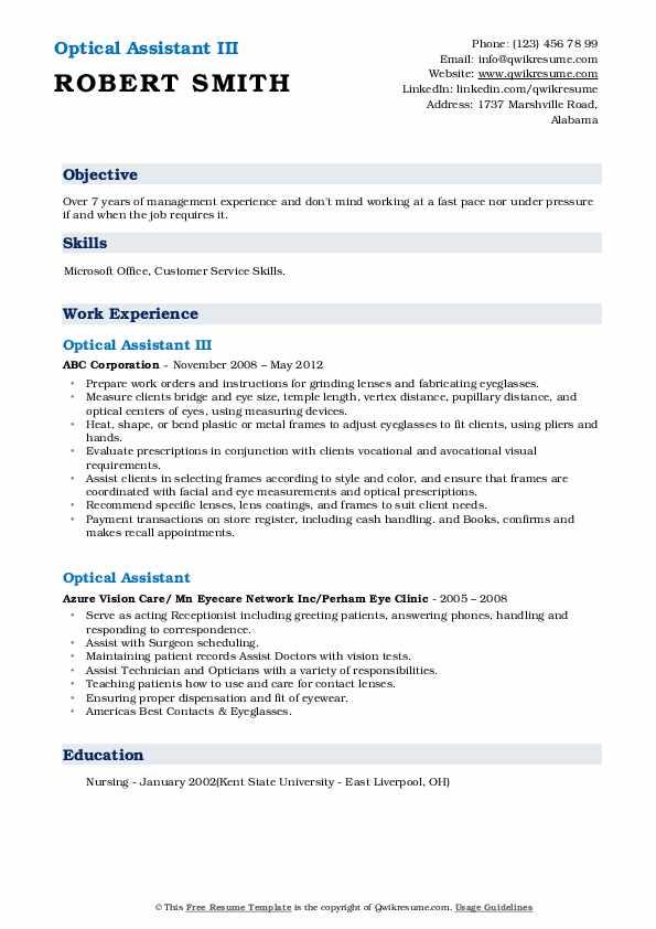 Optical Assistant III Resume Example