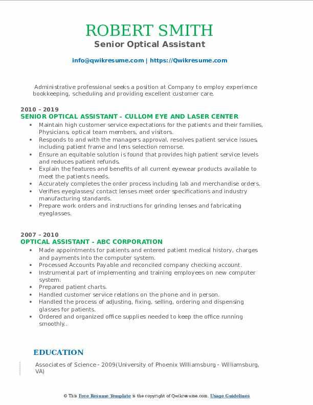 Senior Optical Assistant Resume Example
