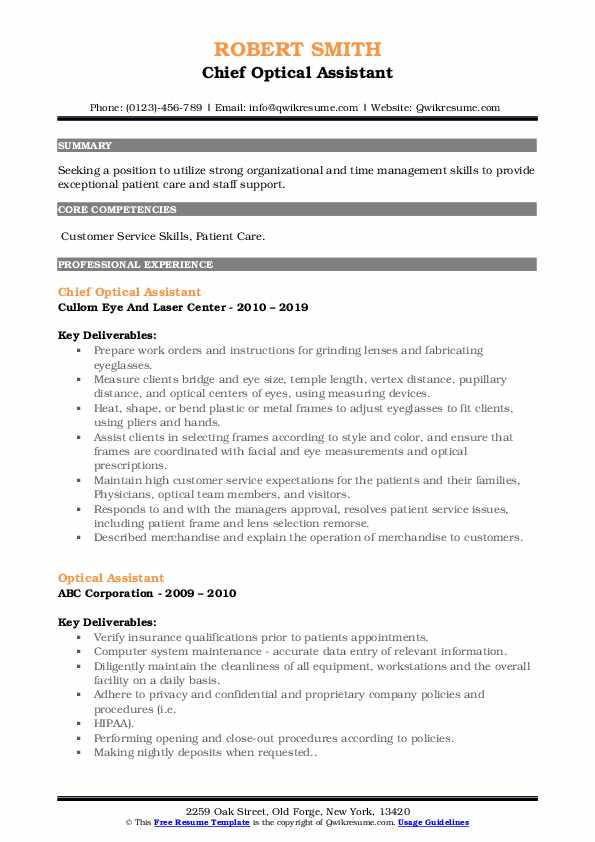 Chief Optical Assistant Resume Model