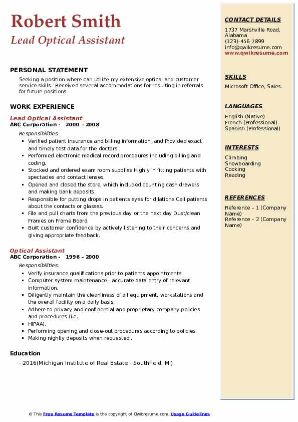 Lead Optical Assistant Resume Example