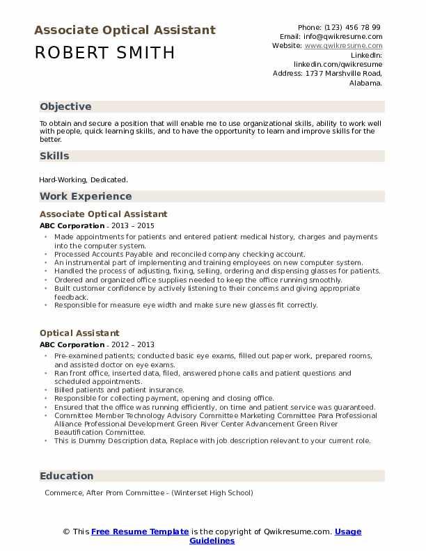 Associate Optical Assistant Resume Template