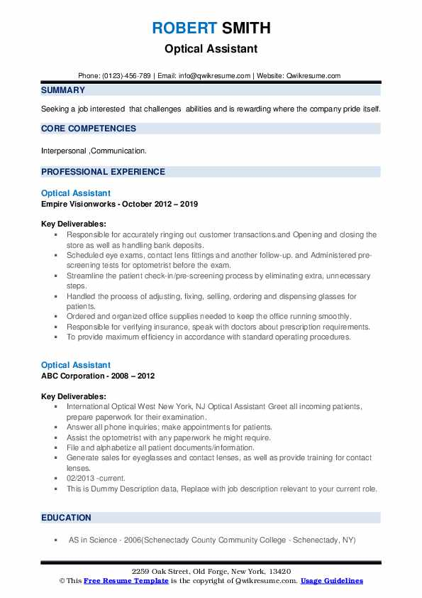 Optical Assistant Resume example