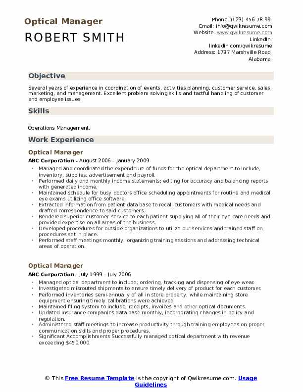 Optical Manager Resume Template