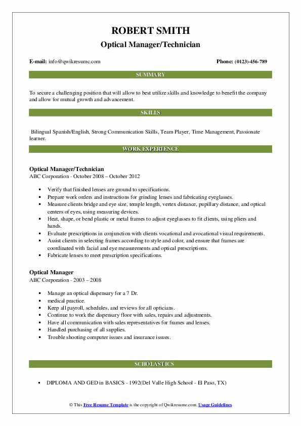 Optical Manager/Technician Resume Template