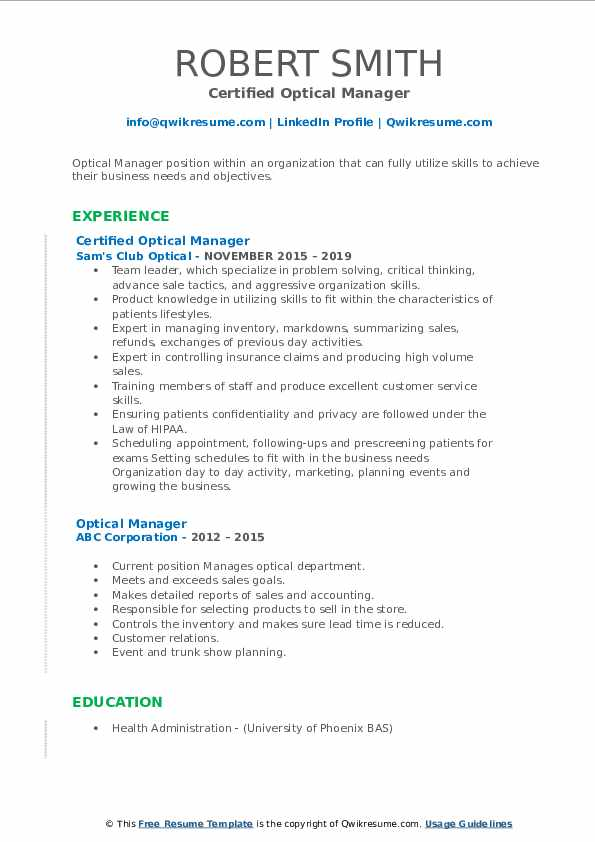 Certified Optical Manager Resume Model