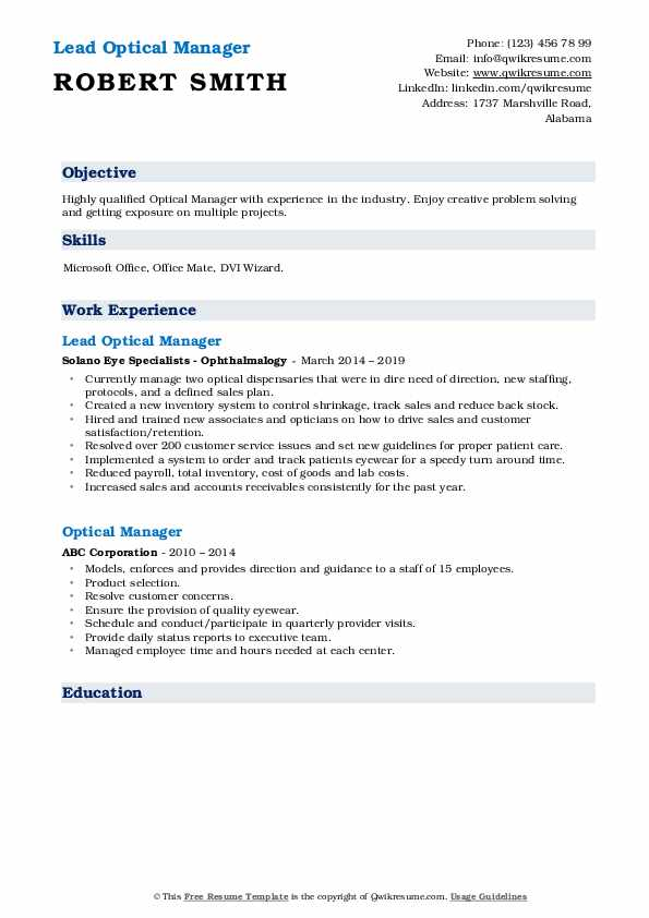Lead Optical Manager Resume Example