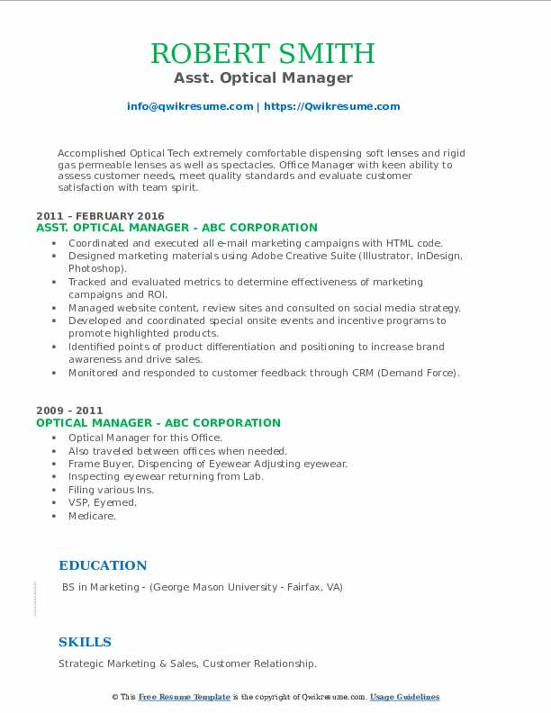 Asst. Optical Manager Resume Example