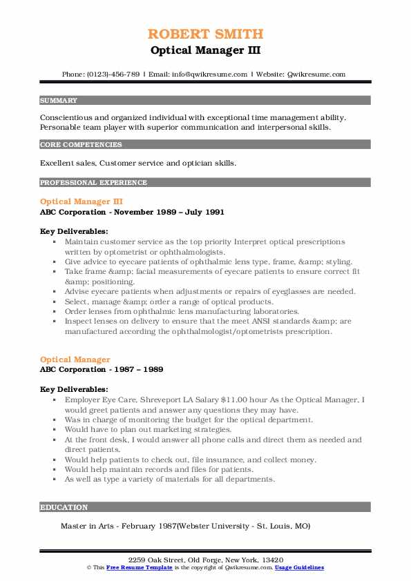 Optical Manager III Resume Template