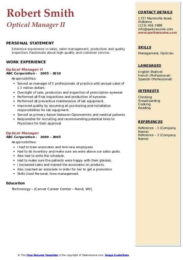 Optical Manager II Resume Template