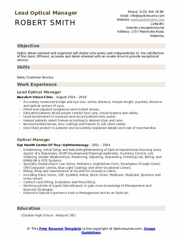 Lead Optical Manager Resume Sample