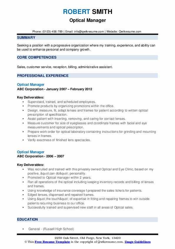 Optical Manager Resume example