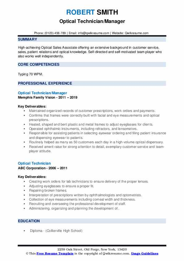 Optical Technician/Manager Resume Template