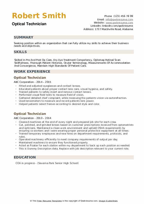 Optical Technician Resume example