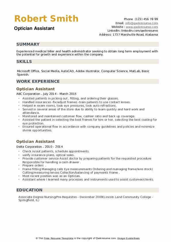 Optician Assistant Resume example